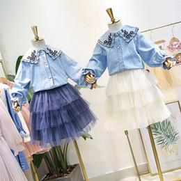 $enCountryForm.capitalKeyWord NZ - 2019 Fall new Kids princess outfits Girls floral embroidery lapel falbala sleeve denim skirt+tiered lace tulle tutu skirt 2pcs sets F9144