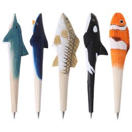 Pen Wood Australia - Handmade 3D Animals Fish Creative Wood Carved Ballpoint Pen Writing Tool Stationery School Student Gifts