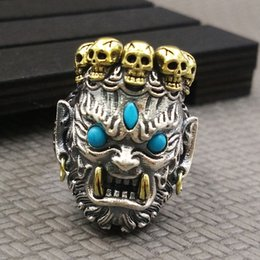 gold rings 14 NZ - Vintage Silver Two Tone 18K Yellow Gold Turquoise Ring Buddhism Big Devil Skull Ring Men's Punk Jewelry US Size 7 -14