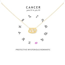 cancer necklaces NZ - Minimalism 12 Constellation CANCER Necklaces For Women Zodiac Chains Necklace Valentine's Gifts Fashion Jewelry with White Card