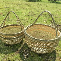 Basket Organizers Storage Australia - Round Large Bamboo Wicker Basket Straw Rattan Handmade Organizer Baskets For Storage Bread Fruit Laundry Panier Osier Picnic Q190618