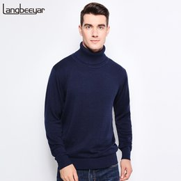 Wholesale black turtleneck sweater men cotton resale online - New Autumn Winter Fashion Brand Clothing Men s Sweaters Warm Slim Fit Turtleneck Men Pullover Cotton Knitted Sweater Men