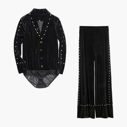 VelVet high waist shorts online shopping - Velvet Diamond Two Piece Sets Women Long Sleeve Bodysuits High Waist Wide Leg Pants Female Fashion Spring New
