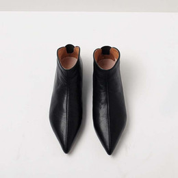 Discount modern boots women - Krazing Pot Full Grain Leather Soft Skin Winter Spring Modern Girl Pointed Toe Boots Slip on Casual Flats Young Lady Pre