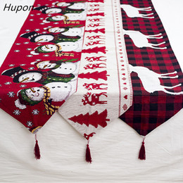 table runners cotton NZ - Cotton Embroidered Christmas Table Runners 180*35cm Deer Christmas Tree Table Runner Cloth Cover for Home New Year Decoration T191006
