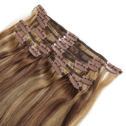 Wholesale Elibess hair -Clip In Hairs 100% Remy Human Hair 7pcs set 70grams Piano Color Clip On Hair Extensions