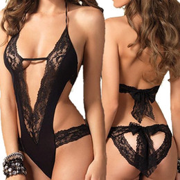 New liNgerie costume online shopping - New Sexy Lingerie Hot Black Lace Spliced Erotic Lingerie Costumes Temptation Transparent Sleepwear Women Sexy Underwear