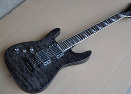 Transparent Black Guitar NZ - Free shipping! Wholesale Factory Transparent Black Left Handed Electric Guitar with Clouds Maple Veneer,HH Pickups White Binding Neck
