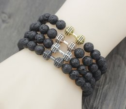 micro oil Australia - 8mm iyu4 Dumbbell micro pave cz zircon elastic thread black volcanic lava Stone bead essential oils diffuser Bracelet Bangles
