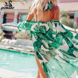 $enCountryForm.capitalKeyWord NZ - Leaves Print Bikini Beach Cover Up Tunics For Beach Long Kaftan Bikini Cover Up Robe De Plage Sarong Beach Swimsuit Cover-ups J190719