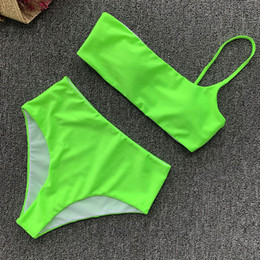 one shoulder swimwear for women 2019 - Two Piece Swimsuit High Waist Bikini 2019 Sexy bandeau neon one Shoulder tankini Swimsuit Women Swimming Suit for Women