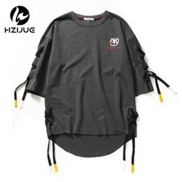 $enCountryForm.capitalKeyWord NZ - Hzijue New Arrival Men Fashion Short Sleeve Side Bandage T Shirt Boys Hip Hop Tee Shirts Loose Street Wear Swag Male Clothes J190612