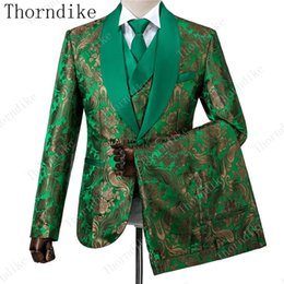 $enCountryForm.capitalKeyWord Australia - New Arrival Men's Costume Groomsmen Green Pattern Slim Fit 3 Piece Tuxedo Groom Wedding Suits Custom Prom Best Man Blazer