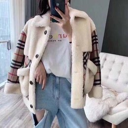 High quality design stylish plaid double-sided tweed patchwork coat new yard plush fur integral lamb wool ladies coat s-xl