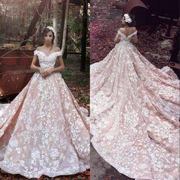 Pink Appliques Canada - Blush Pink Spring Dreaming Goddess A Line Wedding Dresses 3D Flora Appliques Sheer Back Off-shoulder Luxury Romance Bridal Gowns BA3863