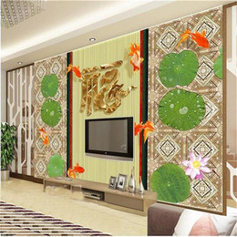 Chinese 3d Wall Stickers Australia - custom size 3d photo wallpaper living room mural embossed lotus Chinese painting picture sofa TV backdrop wallpaper non-woven wall sticker