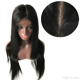 Silk Base Full Lace Wig Free UK - Silk Base Full Lace Hair Wigs with Pre Plucked Straight Brazilian Remy Hair Natural Color Free Part+wig Net