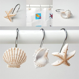 Wholesale White Brown Hanging Hooks Resin Bath Curtain Hook Starfish Conch Shell Modeling Bathing Room Articles EEA434