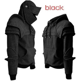 Soldier maSkS online shopping - Cosplay medieval vintage warrior soldier knight mask armor knee Sweater top jacket Sweatshirt for men autumn and spring costumes