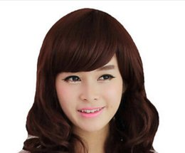 WIG free shipping New Fashion Women's Long Curly Wavy Hair Full Wig Wigs Cosplay Party Brown Wig