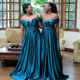 coral wedding bows UK - Plus Size Africa Bridesmaid Dresses Off the Shoulder Countryside Garden Formal Wedding Party Dress Bow Pleats Maod Of The Honor Gowns