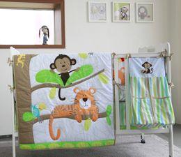Newborn Bedding Australia - New arrival 9Pcs Baby Organizer for newborn Crib bedding set Cuna Quilt Cot bumper set Animal world Comforter Crib Sheet Dust Ruffle