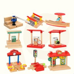 New One Wood Railway Small Gas Station Train Slot Accessories Original Toy Kids Xmas Gifts Fit on Sale