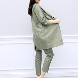 Wholesale linen ladies suits resale online – Women Casual Cotton Linen Blazer Two Piece Set Elegant Ladies Office Work Conjunto Feminino Elastic Waist Pants Long Jacket Suit