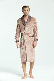 Wholesale mens flannel robe resale online - Underwears Mens Soft Flannel Robes Winter Keep Warm Sahes Pajamas Contrast Colors Pliad Fashion Sleepwear Males Designer