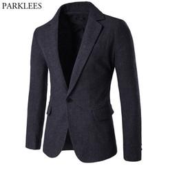 Men White Linen Casual Suits Australia - Mens Wool Blend Suit Blazer Jacket 2018 Fashion Notched Lapel Single Breasted One Button Woolen Blazers Men Casual Party Outwear Y190420