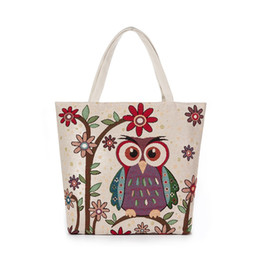 $enCountryForm.capitalKeyWord NZ - 2019 Beach Bag Women Zipper Shoulder Bag Female Shopping Item Organizer Girl Embroidery Tote Bag Bolsas Owl Pattern Linen