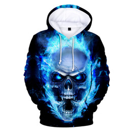 Sweatshirts Blue Australia - latest Blue flame Skull 3d Hoodies Pullover printed fashion cool hip hop Long Sleeve sport men women Hoodie 3D Hooded Sweatshirt