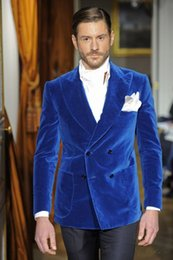 Images Classic Suit Design Australia - New Classic Design Blue Velvet Groom Tuxedos Groomsmen Peak Lapel Best Man Suit Wedding Men's Blazer Suits (Jacket+Pants) 1229