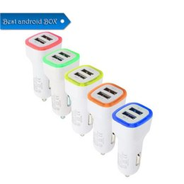 $enCountryForm.capitalKeyWord UK - 5V 1000mAh 2.1A Dual USB Ports LED Light Car Chargers Speed Charging Adapter Universal for iPhone XR XS MAX Samsung HTC Cellphone