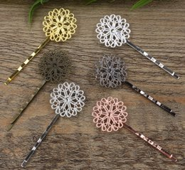 flower hair clip vintage Australia - 40pcs 55*23mm Antique tibet Metal bobby pin vintage flower hairpin rose gold silver hairclip antique bronze hair clip barrettes diy jewelry