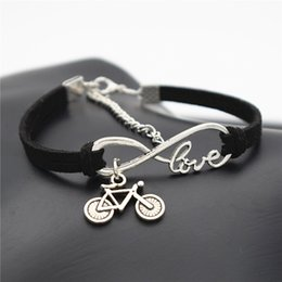 $enCountryForm.capitalKeyWord NZ - Hot Fashion Infinity Love Bike Cycling Bicycle Pendant Charm Bracelet Bangles Black Leather Suede Rope Friendship Jewelry Gift Free Shipping