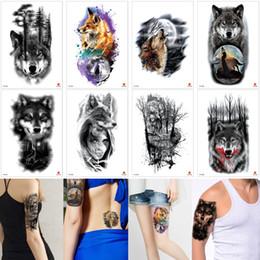 b81375e6e44ec Fake Black Wolf Tattoo Sticker Professional Amaze Unique Mens Body Transfer Temporary  Waterproof Women Tree Fox Moon Designs Tattoo Beginner