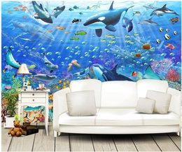 underwater painting 2020 - WDBH custom photo 3d wallpaper Hand painted blue ocean underwater world whale living room home decor 3d wall murals wall