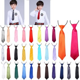 Clothing for sChool online shopping - 30 Color Kids Ties Baby Solid Elastic Neckties for Wedding Party Photo Accessories School Clothes Tie HHA538