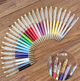 pen shells Canada - Floating Glitter DIY Pen Japan Stationery Christmas Gifts Kids Dried Flower Small Shell Whelk Crystal Pen Ballpoint Pens Free DHL LXL420A