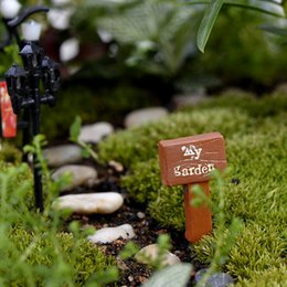Garden Boards Australia - 3PCS fairy garden gnome moss sign board signboard miniatures terrarium decor bonsai Figurines Micro Landscape resin Crafts