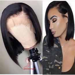 $enCountryForm.capitalKeyWord Australia - Human Hair Lace Front Wig Side Part Straight Brazilian Virgin Hair Wig Pre-plucked Short Bob Wig For Black Women