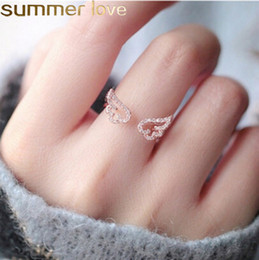 $enCountryForm.capitalKeyWord NZ - Hot Sale Angel Wings Ring Cute Design Crystal Open Rings for Elegant Girls Women Jewelry Gift