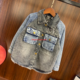 Chinese embroidered Coats online shopping - Children jacket kids fashion clothes autumn washed denim coat letters embroidered boys jacket