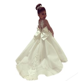 little bride wedding ball gowns images Australia - New Long Sleeve Flower Girl Dresses with Train Little Bride White Kids Pageant Ball Gowns Lace Girls First Communion Dresses