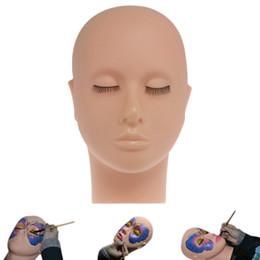 df24ac06b2c Mannequin Flat Head Silicone Practice False Eyelash Extensions Make Up  Model Massage Training Practice Tools RRA898