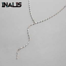 silver chain delicate wholesale NZ - INALIS Real 925 Sterling Silver Fine Jewelry Long Chain Pendant for Women Delicate Wedding Collar Girl Party Birthday Bijoux