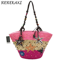 Poles Lady Australia - REREKAXI New Straw Bag Fashion Women Shoulder Bags Large Capacity Beach Bag Wheat Pole Weave Handbag Starfish Ladies Tote
