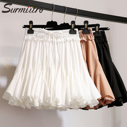 $enCountryForm.capitalKeyWord Australia - Surmiitro White Black Chiffon Summer Shorts Skirt Women 2019 Fashion Korean High Waist Tutu Pleated Mini Sun School Skirt Female MX190801
