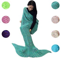crochet mermaid tails Australia - Sofa Knitted Throw Blanket Mermaid Tail Blankets Handmade Crochet Bedding